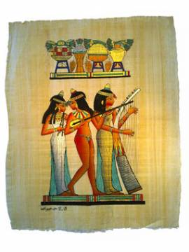 �gyptischer Papyrus Bankett-Szene. - Bild vergr��ern