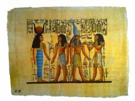 Papyrus Horus, Hathor und 2 Könige. - Bild vergrößern