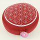 Meditationskissen: Blume des Lebens Rot/Silber
